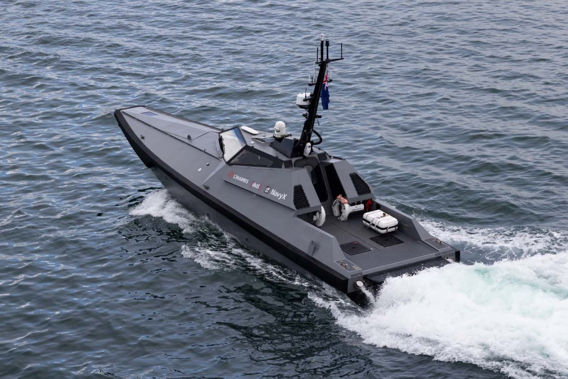A MADFOX, an un-crewed surface vessel used to provide deception and intelligence, surveillance and reconnaissance