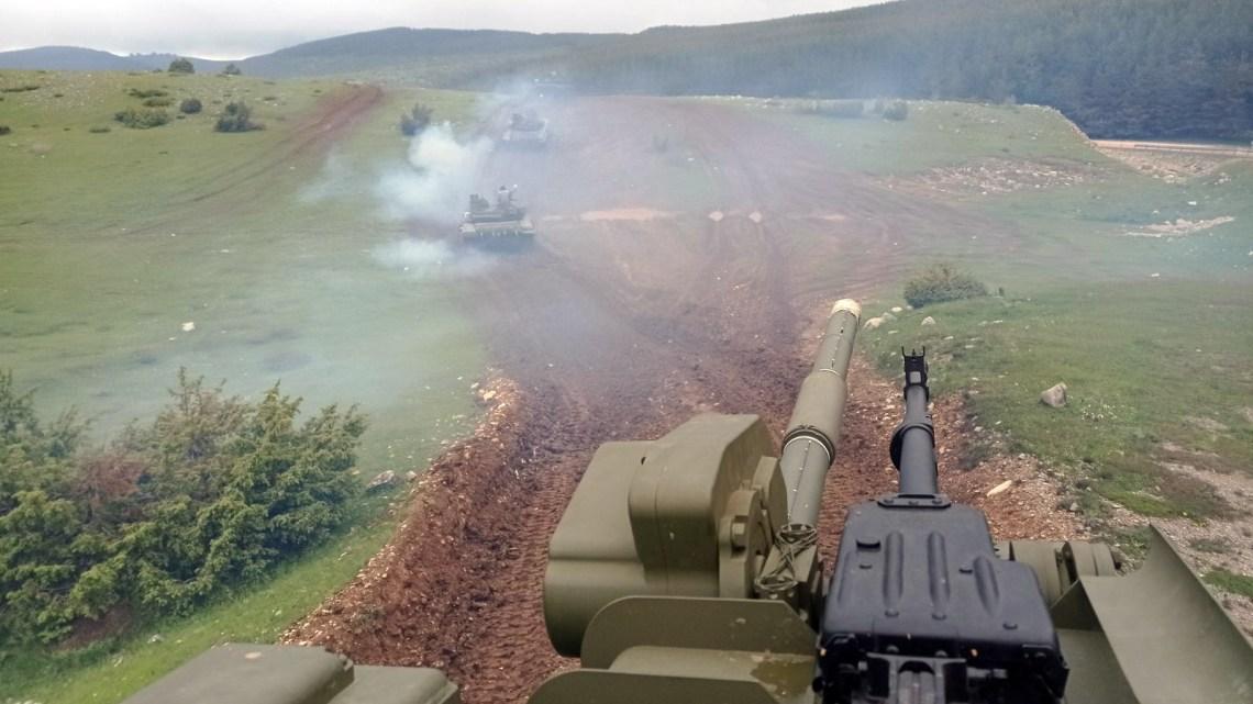 T-72MS main battle tank action at Lightning Strike 2021 exercise