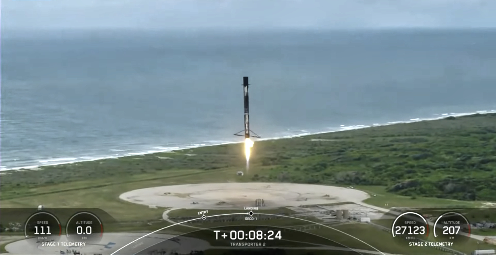 A perfect 1st stage landing for the SpaceX Transporter-2 mission.