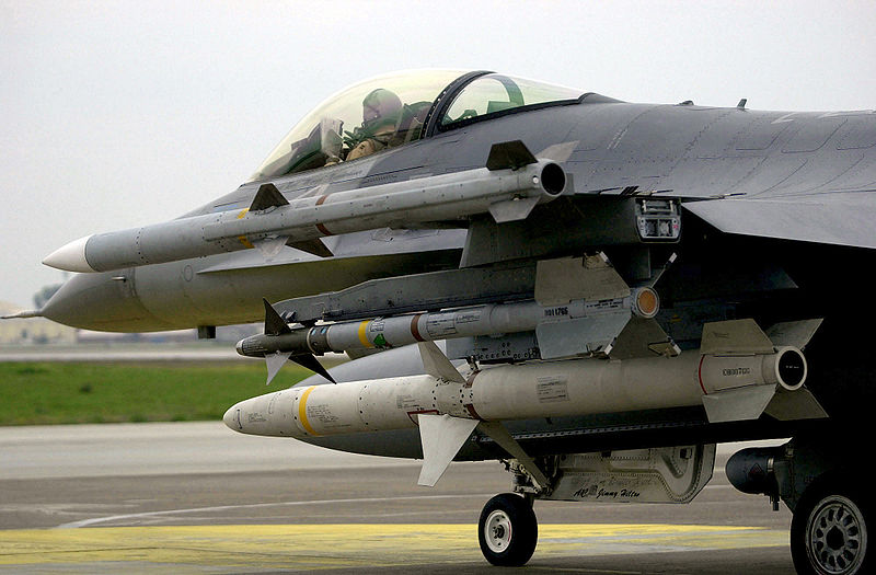 F-16C Fighting Falcon aircraft armed with AIM-120 Advanced Medium Range Air-to-Air Missiles (AMRAAM), AIM-9 Sidewinder missiles and AGM-88 High Speed Antiradiation Missile (HARM) taxies onto the flight line at Incirlik Air Base (AB), Turkey