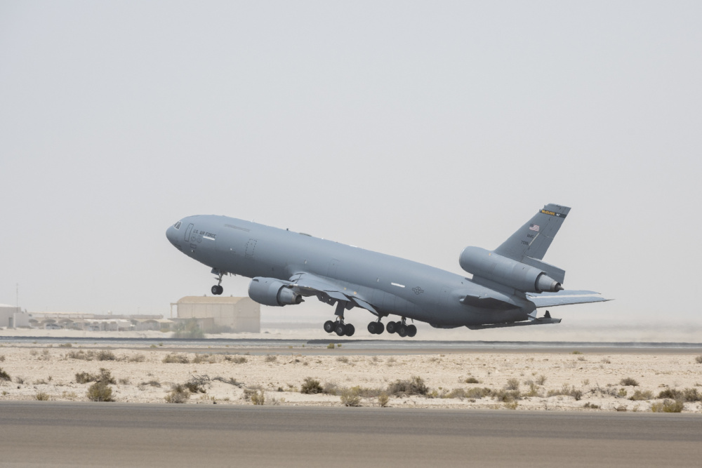 A KC-10 Extender from the 908th Expeditionary Air Refueling Squadron takes off July 5, 2021 from Al Dhafra Air Base, United Arab Emirates.