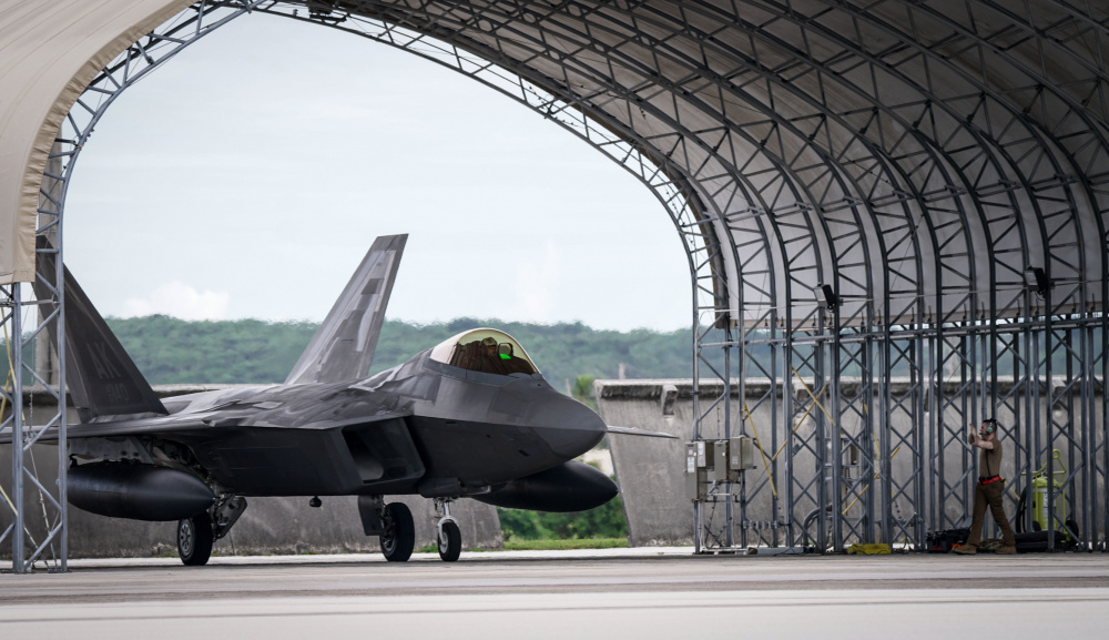 A U.S. Air Force F-22 Raptor assigned to the 525th Fighter Squadron, 3rd Wing, Joint Base Elmendorf-Richardson, Alaska, arrives in support of Pacific Iron 2021 at Andersen Air Force Base, Guam, July 18, 2021.