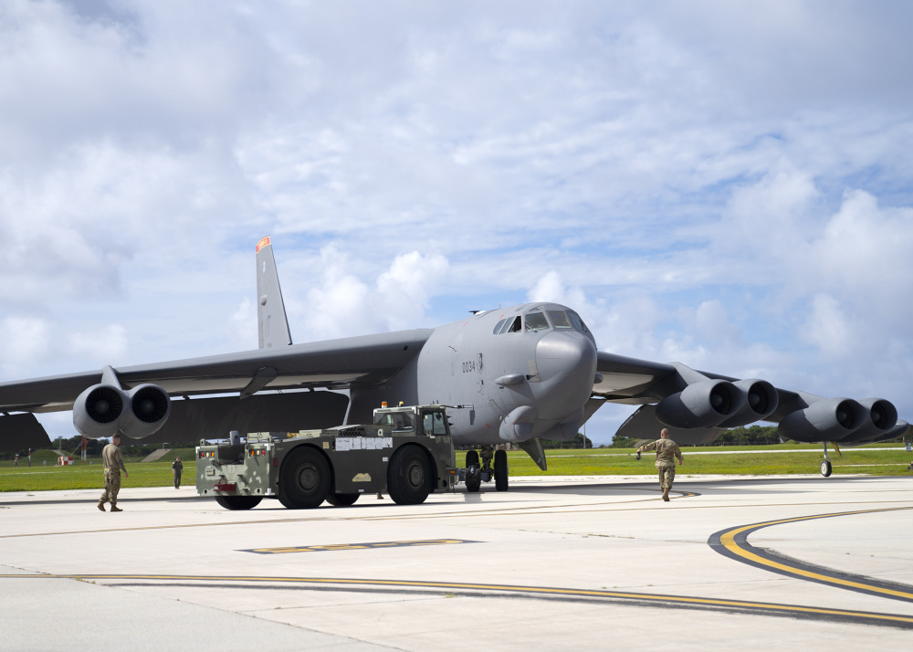 U.S. Air Force B-52H Stratofortress from the 5th Bomb Wing, Minot Air Force Base North Dakota, parks at Andersen Air Force Base, Guam, for a Bomber Task Force deployment, July 15, 2021.