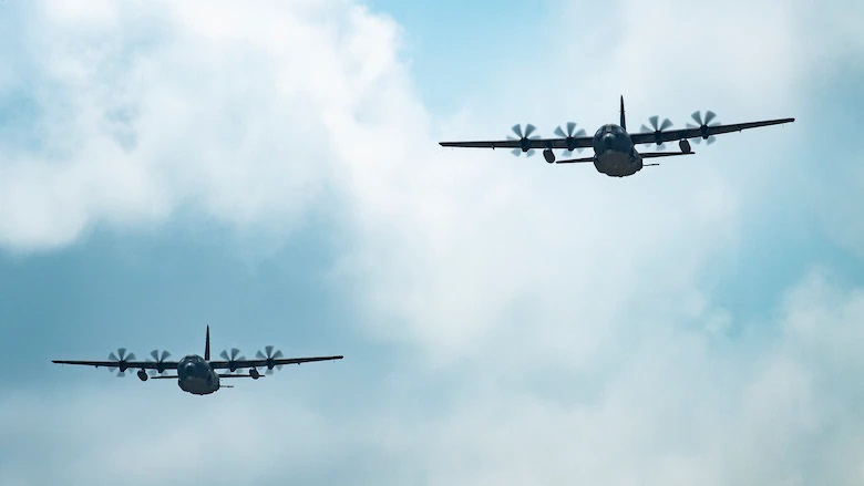 A U.S. Air Force AC-130J Ghostrider gunship, assigned to the 27th Special Operations Group Detachment 2, conducts a flyover July 19, 2021, at Cannon Air Force Base, N.M.