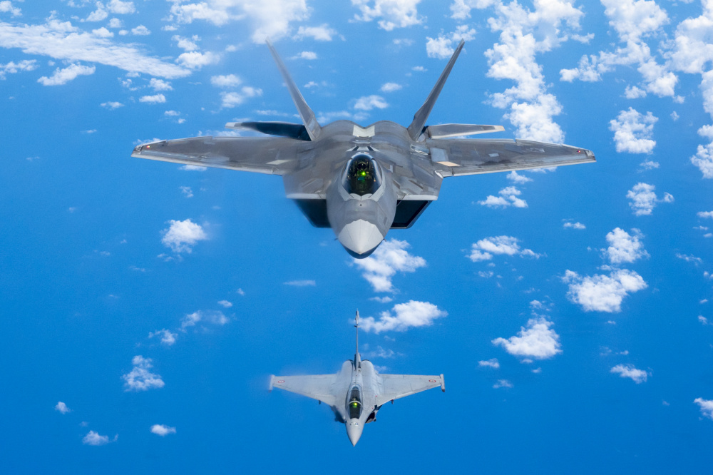 US Air Force F-22 Raptors Advance Interoperability with French Air Force Rafales