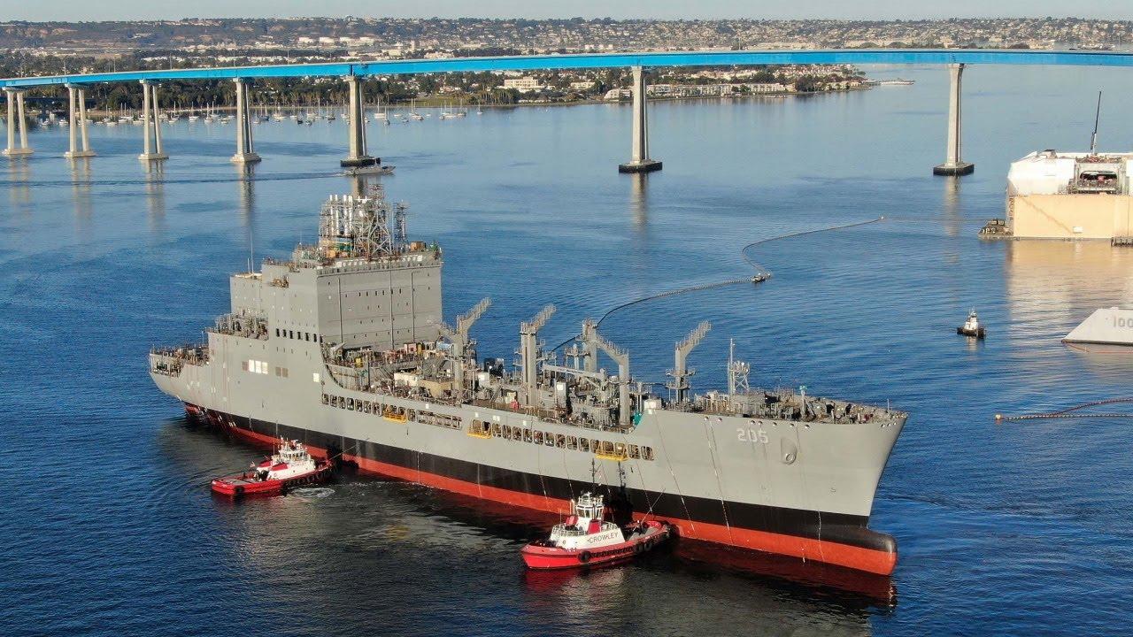 US Navy Military Sealift Command USNS John Lewis Christened at General Dynamics NASSCO San Diego