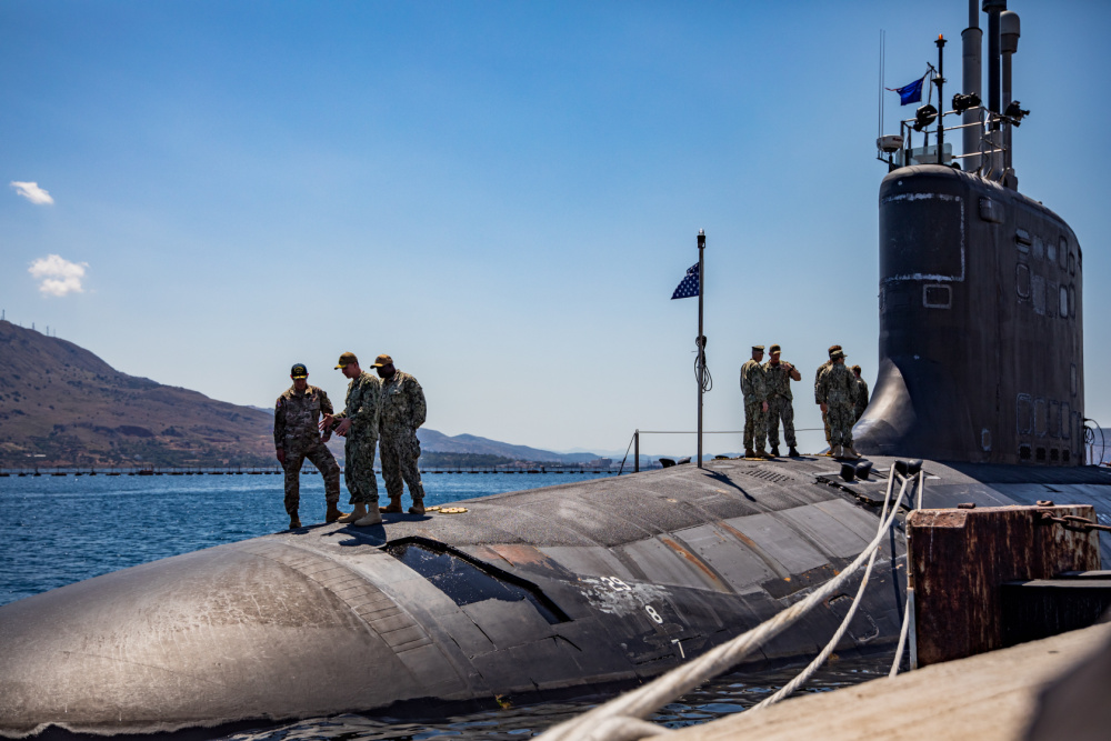 Major General Tabor, Commanding General of Special Operations Command Europe, visits the USS New Mexico (SSN-779) in Souda Bay, Greece during a joint training with U.S. Navy SEALs.