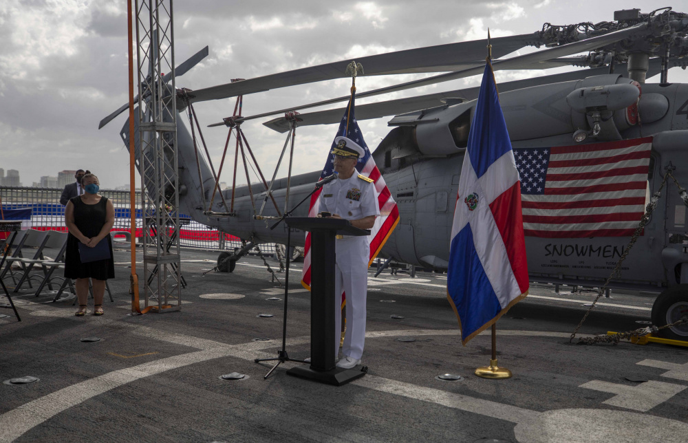 Rear Adm. Don Gabrielson, commander of U.S. Naval Forces Southern Command/U.S. 4th Fleet, gives remarks during a reception on the flight deck aboard the Freedom-variant littoral combat ship USS Billings (LCS 15), July 9, 2021.