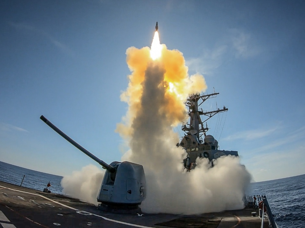 USS Stout launches Standard Missile (SM) 2