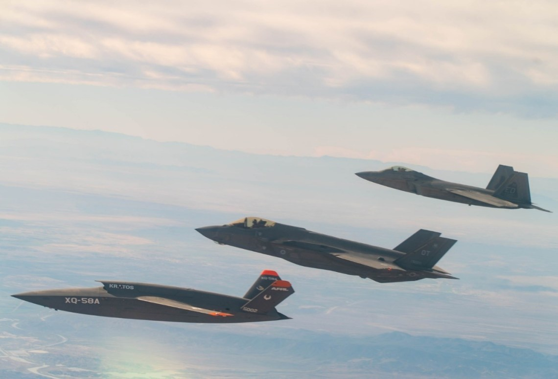 XQ-58A Valkyrie, F-35 Lightning II, and F-22 Raptor