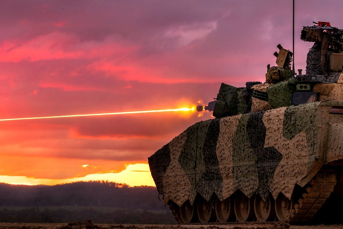 A Rheinmetall LYNX KF41 Infantry Fighting Vehicle conducts a live fire demonstration during LAND 400 Phase 3 user evaluation trials at Puckapunyal Military Area, Victoria.