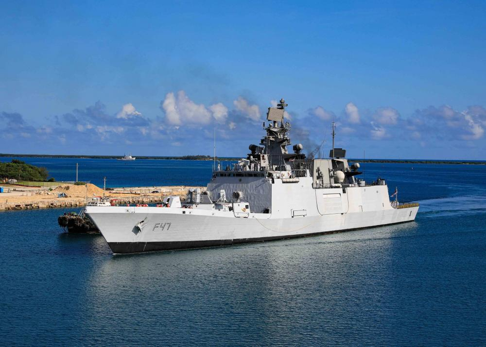 The Indian navy frigate INS Shivalik (F47) sails into Apra Harbor, Guam, August 21, as part of Malabar 2021.