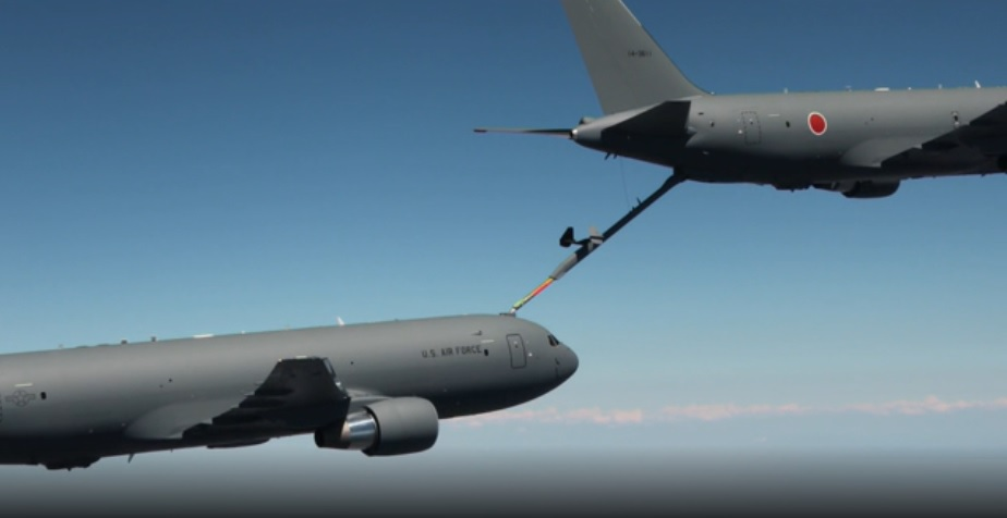 First KC-46A for a non-US customer gives and receives fuel with another KC-46A