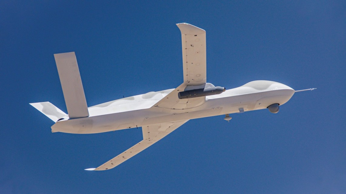 GA-ASI Avenger Unmanned Aircraft System Equipped with Lockheed Martin Legion Pod Autonomously Follows Target Aircraft