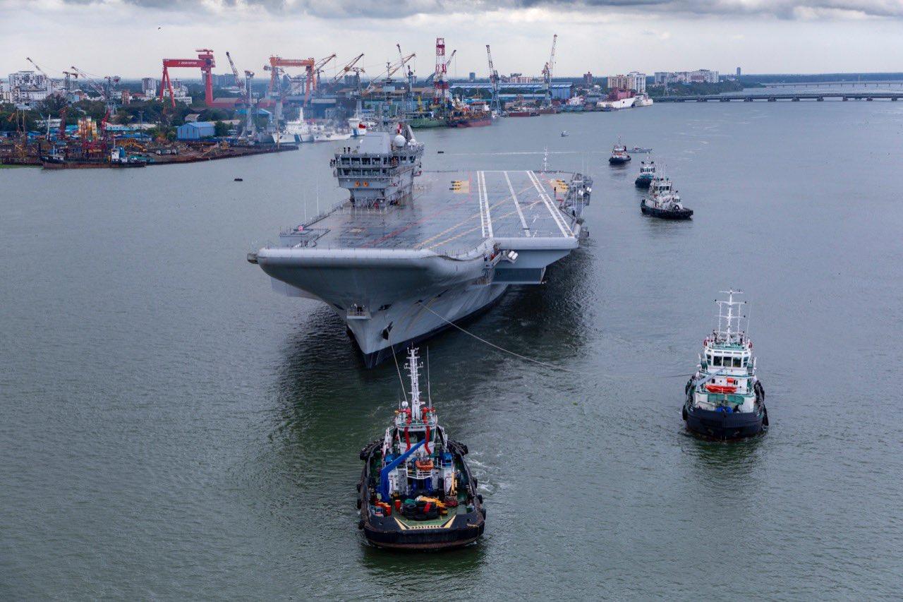 Indian Navy Indigenous Aircraft Carrier INS Vikrant (IAC-1) Begins Sea Trials