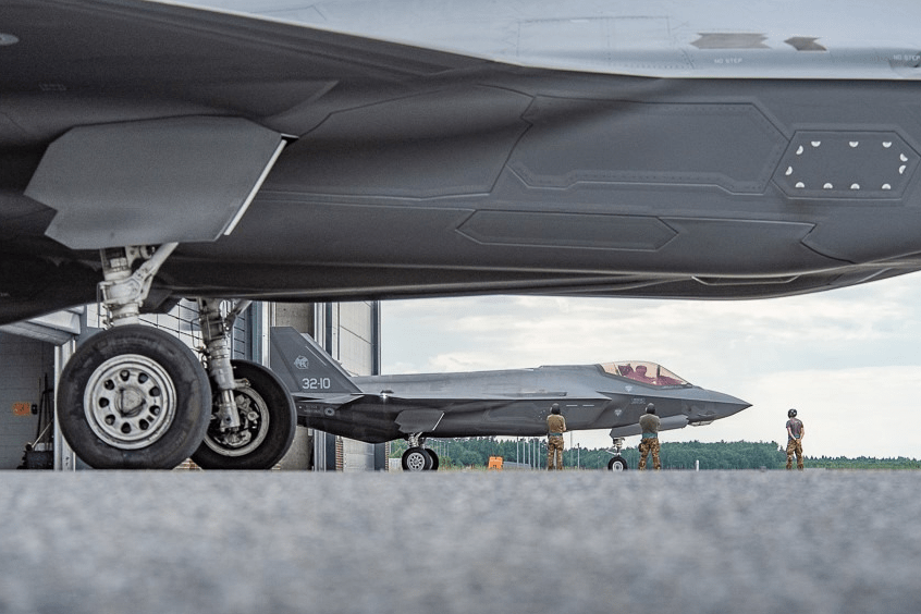 Two Italian Air Force F-35 outside their shelter at Ämari Air Base; for the first time fifth generation fighter aircraft patrolled the skies above the Baltic Allies Estonia, Latvia and Lithuania for NATO.