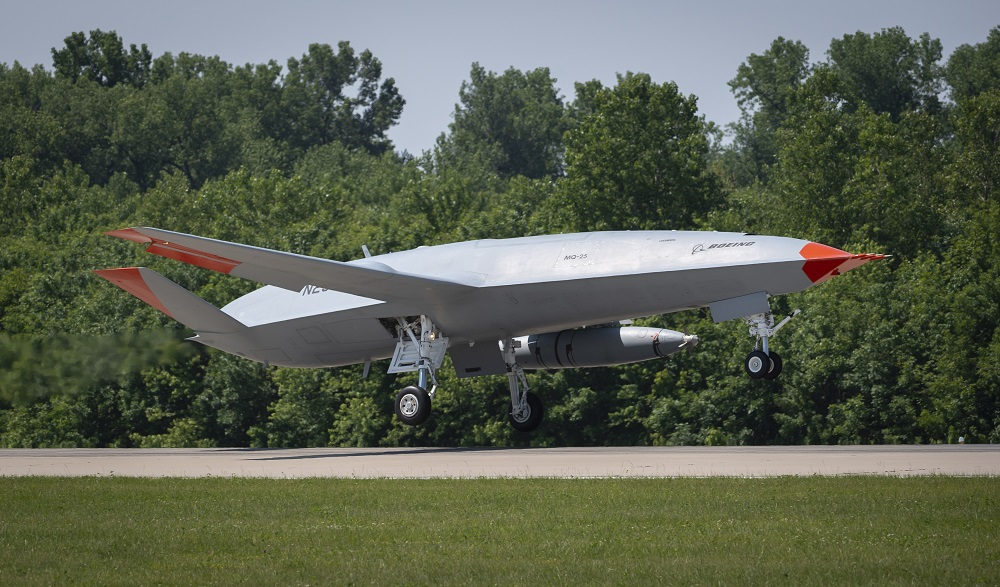An unmanned Boeing MQ-25 T1 Stingray test aircraft takes off from MidAmerica Airport in Mascoutah, Illinois