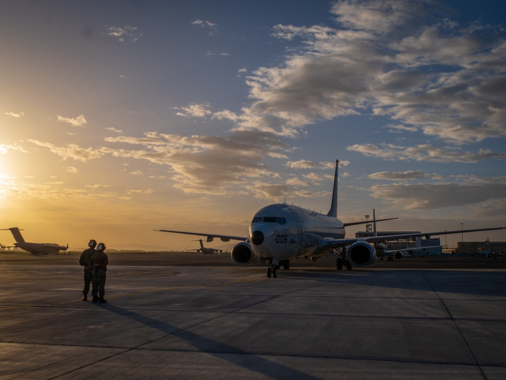 US Navy Boeing P-8A Poseidon ready for take-off for joint missions.