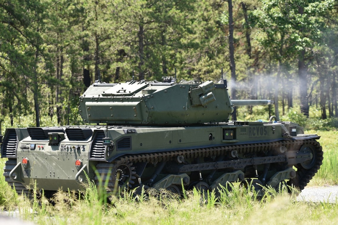 US Army Combat Capabilities DEVCOM Test Robotic Combat Vehicle-Medium (RCV-M) at Fort Dix, New Jersey
