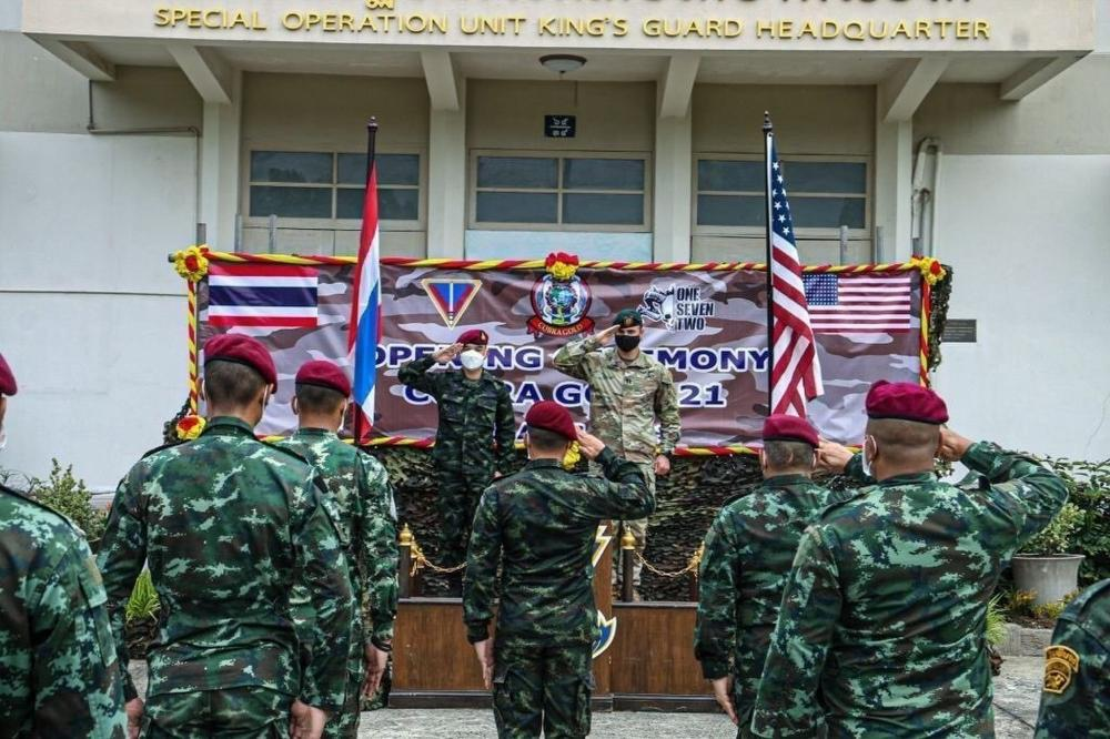 - Green Berets with 3rd Battalion, 1st Special Forces Group (Airborne), and their Royal Thai Army counterparts gather together for a group photo after the Cobra Gold 21 opening ceremony held at Camp Erawan, Lopburi, Kingdom of Thailand, on Aug. 2, 2021.