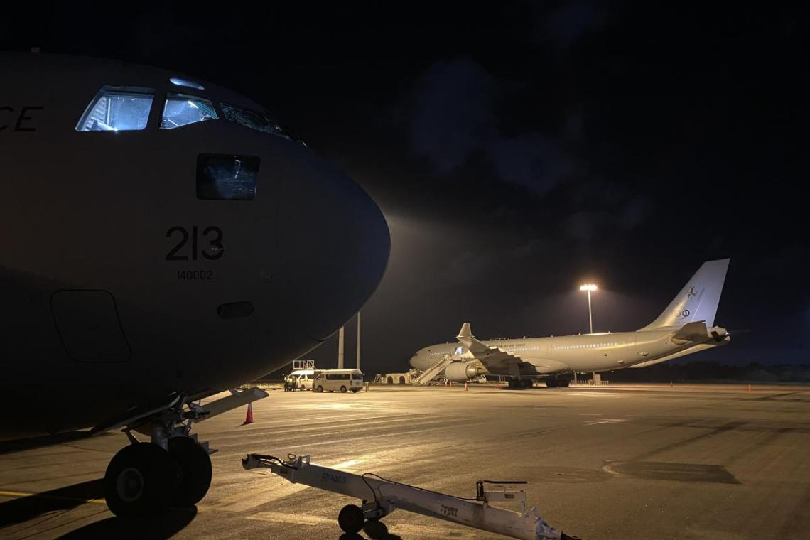 The C-17A Globemaster, from No. 36 Squadron, being prepared before leaving Perth Airport.