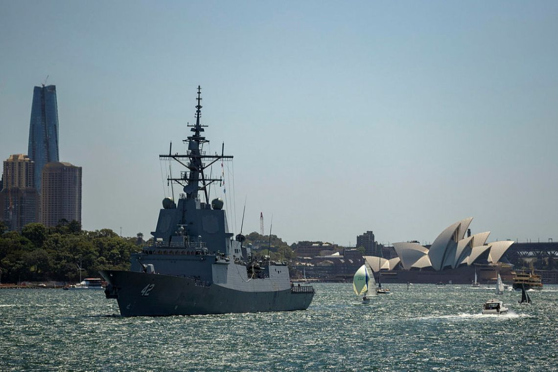Hobart Class Destroyer HMAS Sydney departs Sydney Harbour to conduct high-end warfare exercises off the east coast of Australia.