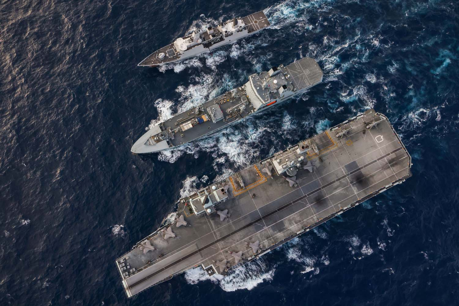 Royal Navy Carrier Strike Group Sails with Three Navies Near Strait of Malacca