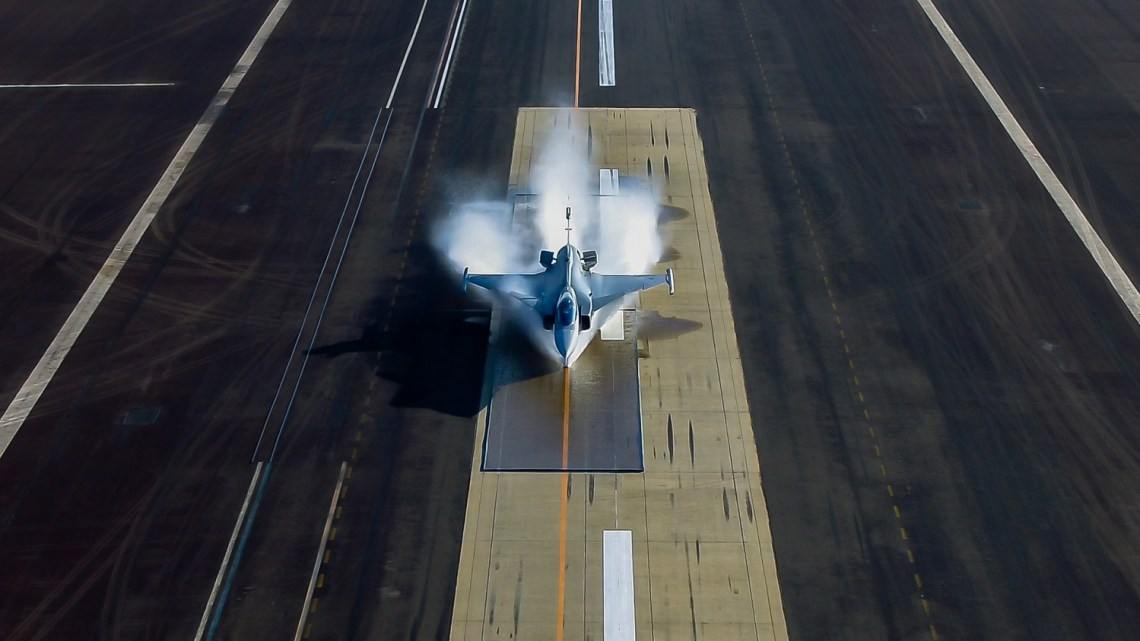 Saab Conducts Water Spray Test With Gripen E Fighter at Gripen Flight Test Centre, Brazil