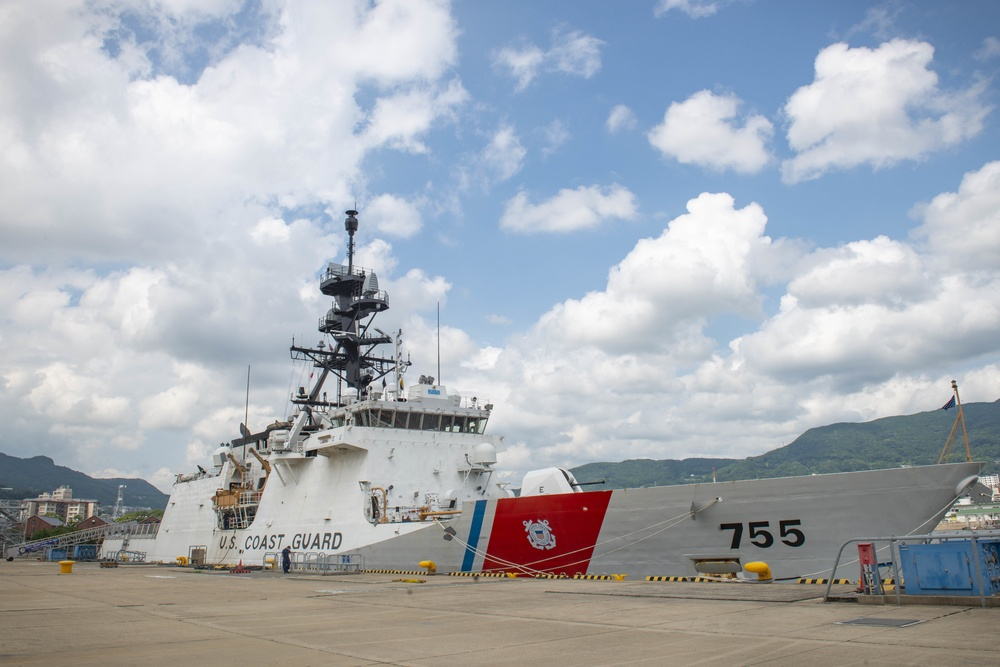 The U.S. Coast Guard cutter USCGC Munro (WMSL 755) is moored pierside during a visit to Commander, Fleet Activities Sasebo, Japan (CFAS) Aug. 20, 2021.