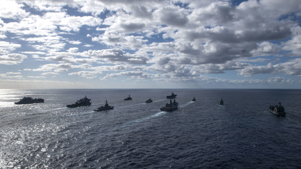 The ships of the USS America (LHA 6) Expeditionary Strike Group steam in formation during Talisman Sabre (TS) 21. This is the ninth iteration of Talisman Sabre, a large-scale, bilateral military exercise between Australian and the U.S. involving more than 17,000 participants from seven nations.