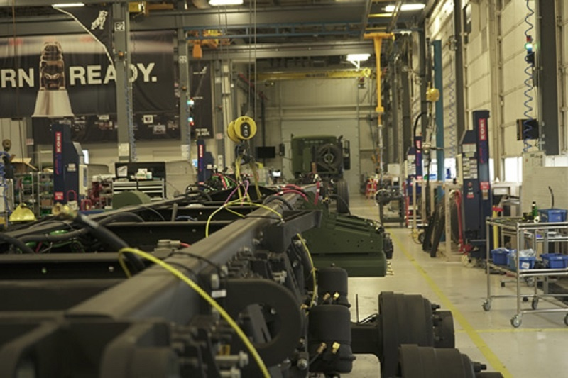 The Mack Defense M917A3 Heavy Dump Trucks (HDTs) production line at the Mack Experience Center.