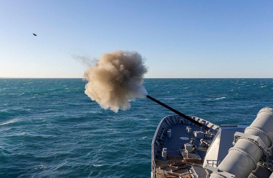 HMAS Warramunga conducts a 5 inch gun firing in the Western Australian Exercise Area.