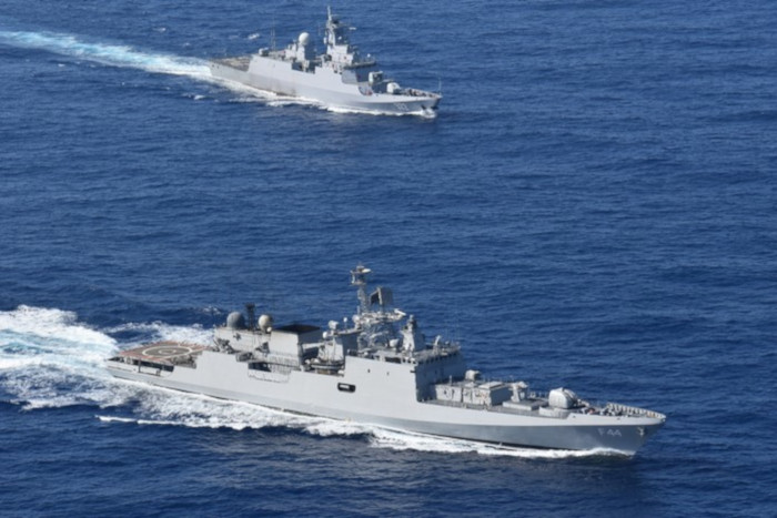 Indian Navy INS Tabar Conducts Naval Exercises with Algerian National Navy Adhafer class Ezzadjer