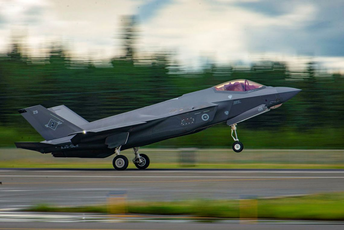 A Royal Australian Air Force F-35A Lightning II aircraft from No. 3 Squadron lands at Eielson Air Force Base in Alaska, United States, in preparation for Exercise Red Flag Alaska.