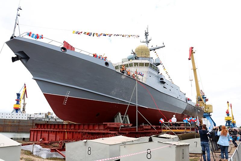 """Zaliv Kerch Shipyard Launches Russian Navy's Karakurt-Class Corvette """"Askold"""""""