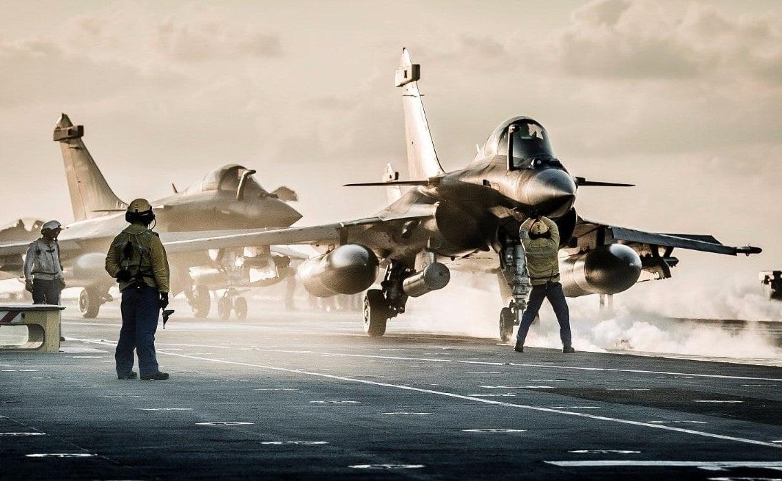 Rafale-M carrier-borne fighter on the flight deck of Charles de Gaulle
