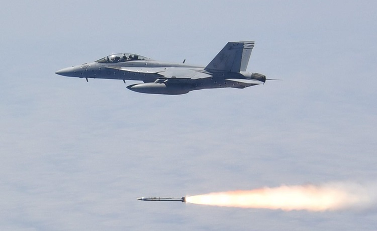 The AARGM-ER is launched from a US Navy F/A-18 during a successful live fire test at Point Mugu Sea Test Range, California.