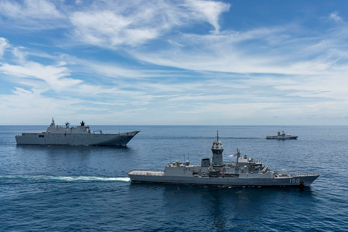 Royal Australian Navy ships Canberra and Anzac conduct a passage exercise with Royal Brunei Navy ship KDB Darulehsan during Indo-Pacific Endeavour 21.