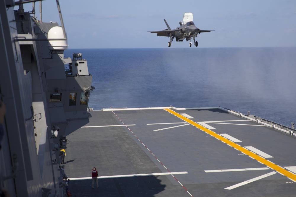 US Marine Corps F-35B Conduct First Landing Aboard Japan Maritime Self-Defense Force JS Izumo