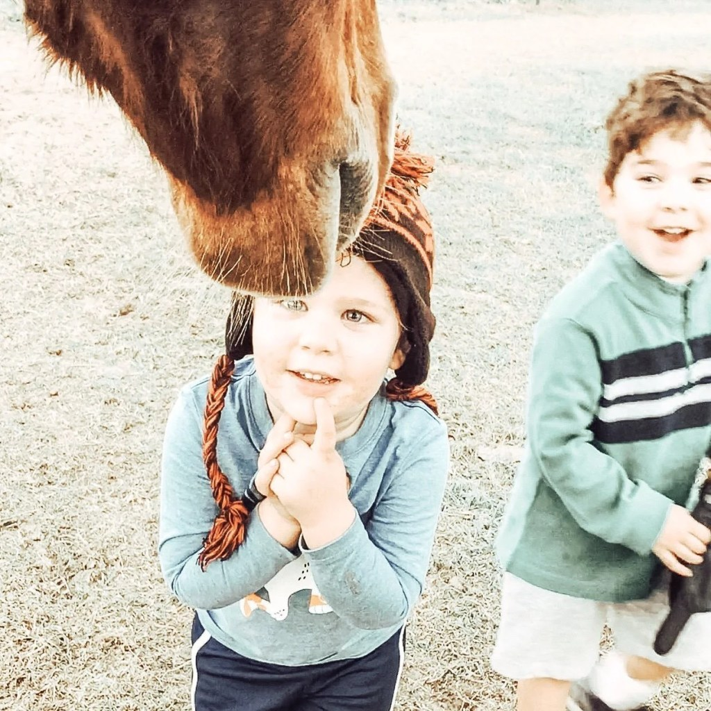 Military kids looking up at horse