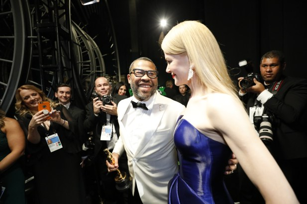 Jordan Peele, Oscar winner, with presenter Nicole Kidman (Photo by Al Seib/Los Angeles Times)