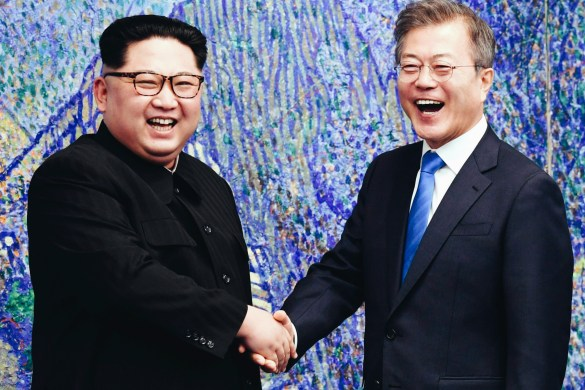 Korean leaders Kim Jong-Un and Moon Jae-in