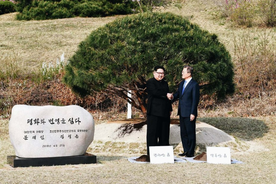 Kim Jong-Un and Moon Jae-in plant tree