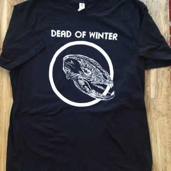 photograph of a t-shirt, black with a white skull and circle and text saying Dead of Winter.