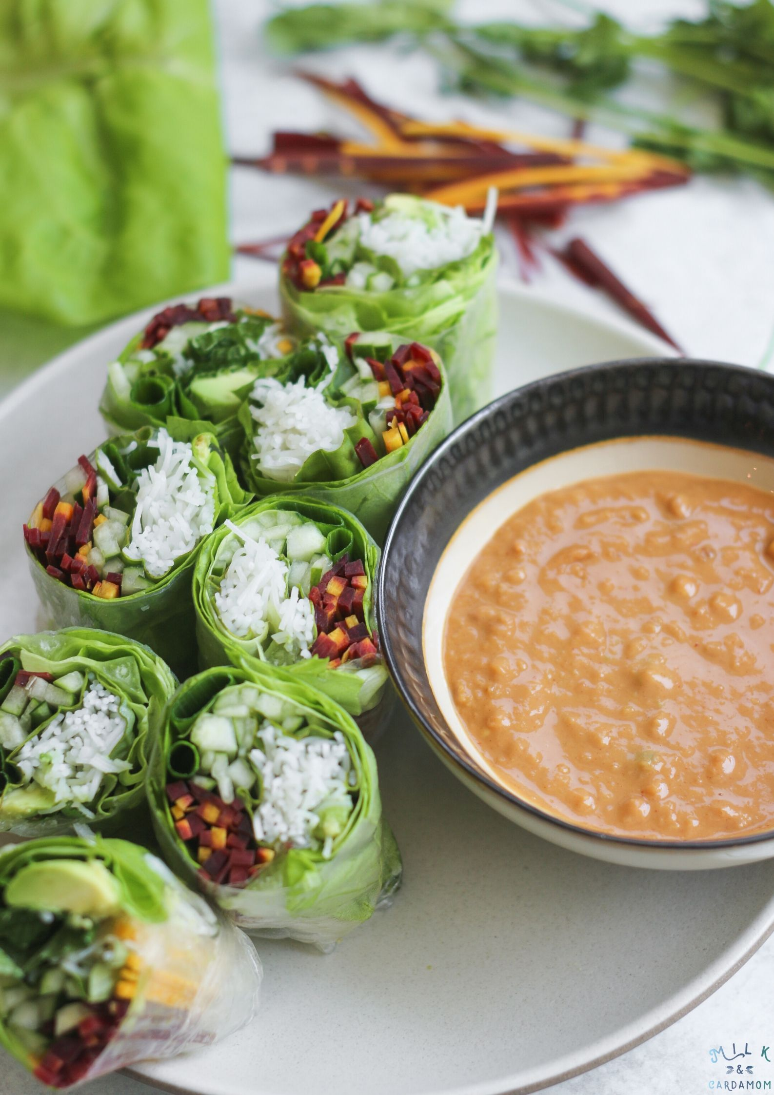 Vegetable Vietnamese Spring Rolls With Peanut Sauce Milk Cardamom