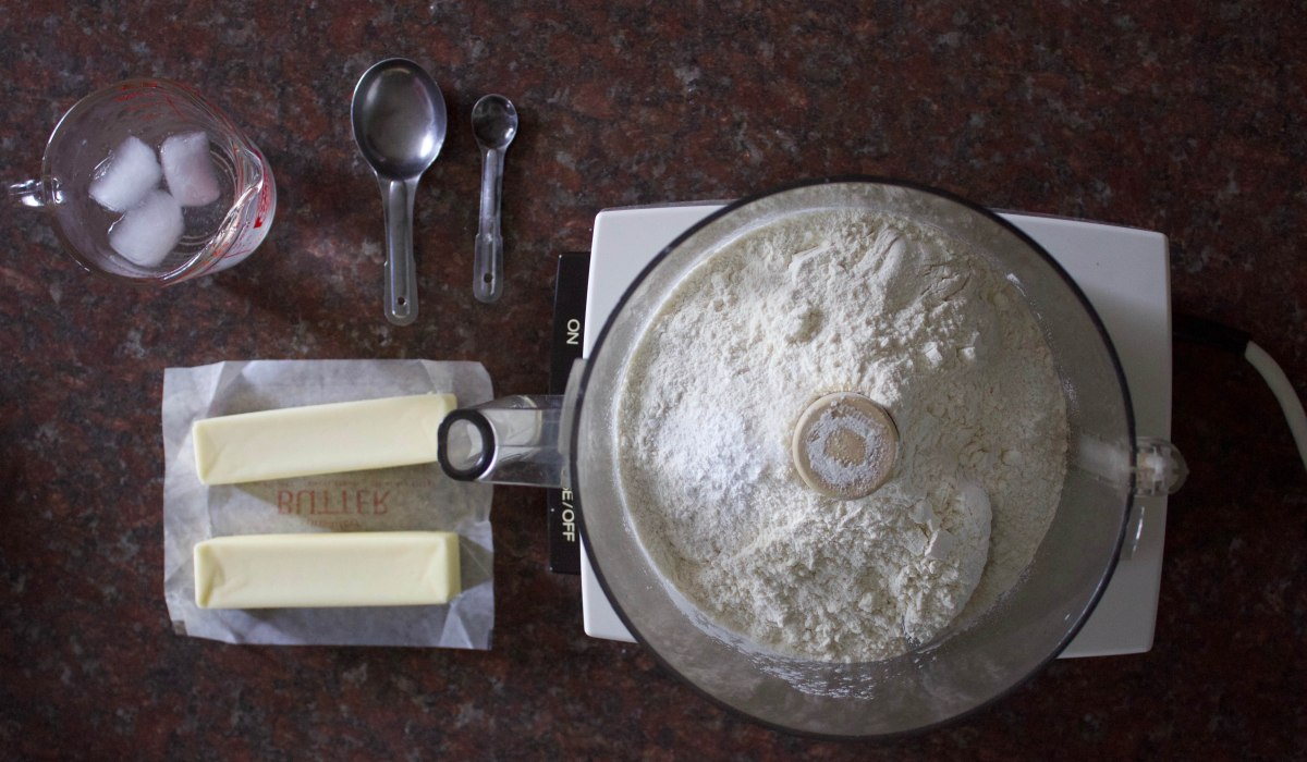 Flour, butter, salt, ice water: all the necessary ingredients to create buttery flaky pie dough