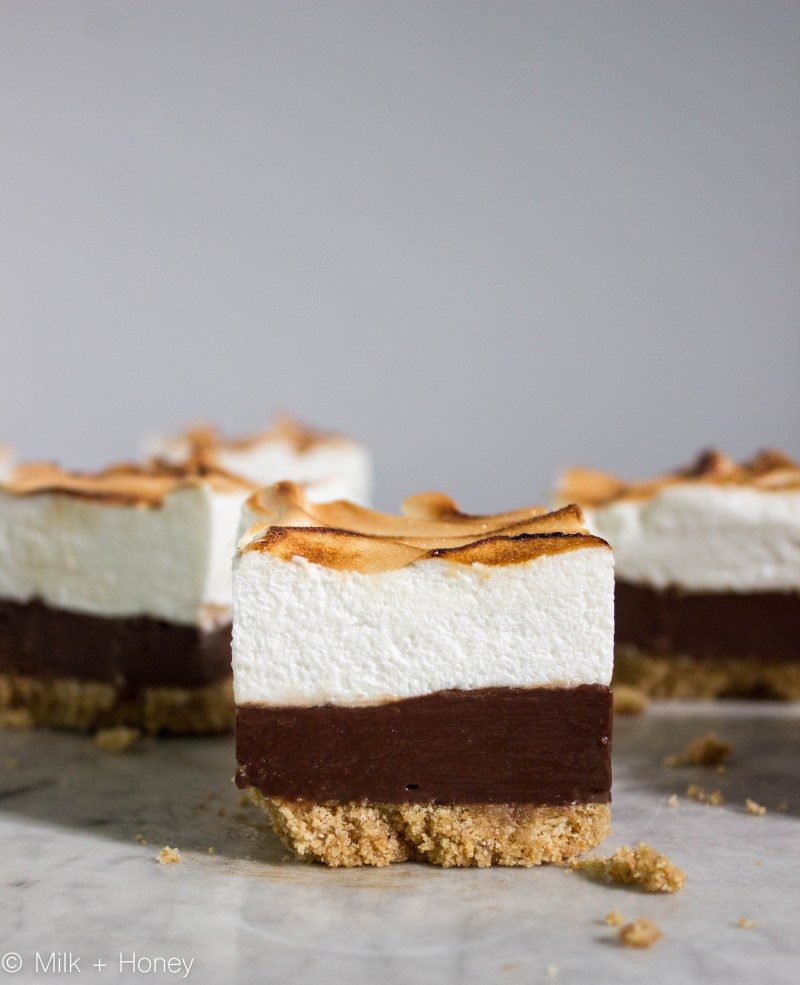 s'more fudge, Grahame cracker crust, chocolate fudge center, toasted marshmallow meringue.
