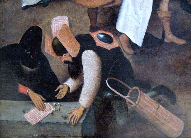 Close up of a renaissance painting picturing a man playing dice with what appears to be three waffles tied to his head