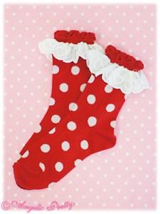 Angelic Pretty Polka Dot Crew Length Socks Red