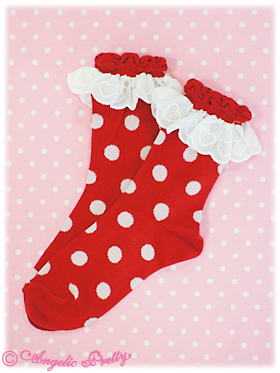 Angelic Pretty Polka Dot Crew Length Socks Red
